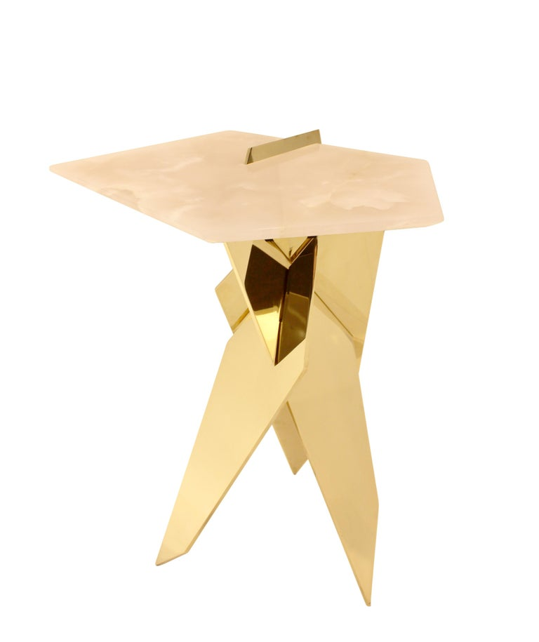 American Sculptural Shard Table in Polished Bronze with Pink Onyx Top For Sale