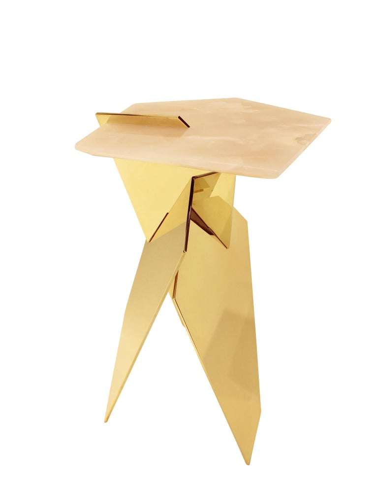 Sculptural Shard Table in Polished Bronze with Pink Onyx Top 5