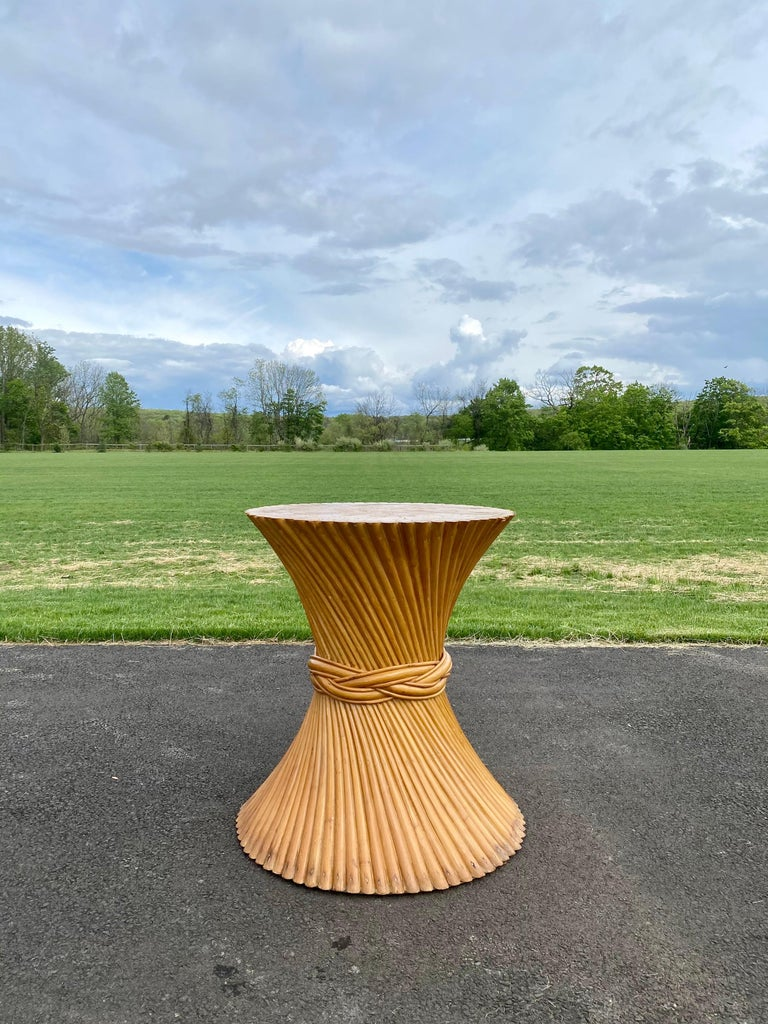 Sculptural Sheaf of Wheat Bamboo Rattan Dining Table, Hollywood Regency McGuire For Sale 5