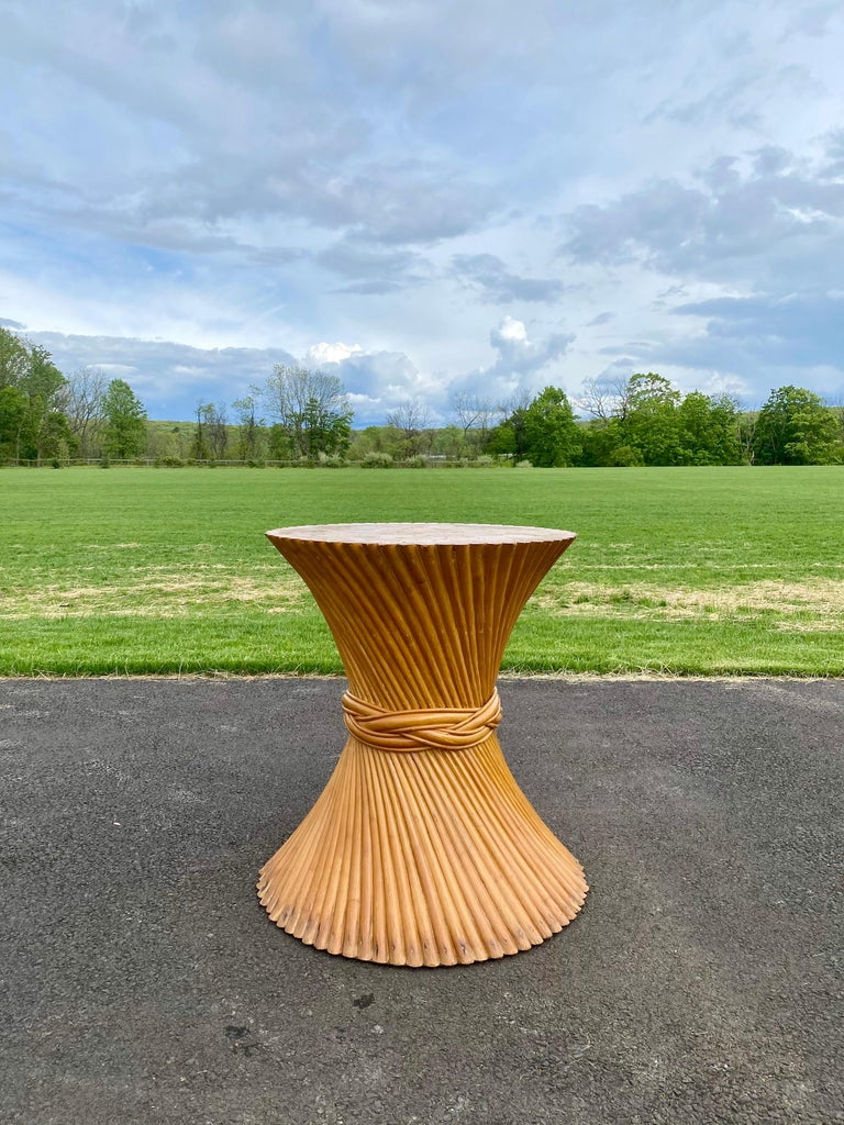 Sculptural Sheaf of Wheat Bamboo Rattan Dining Table, Hollywood Regency McGuire For Sale 6