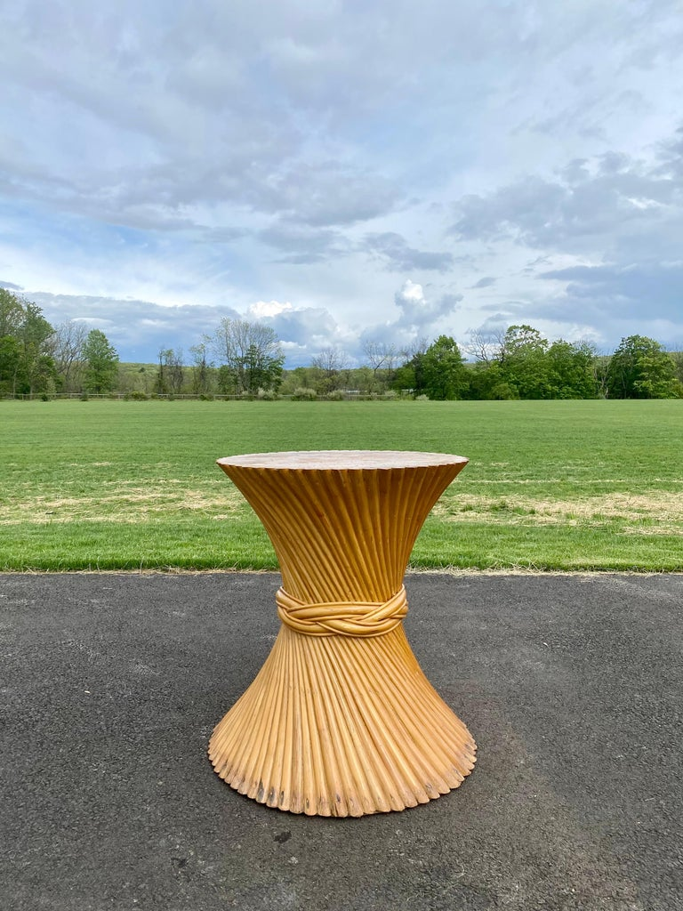 Sculptural Sheaf of Wheat Bamboo Rattan Dining Table, Hollywood Regency McGuire For Sale 8