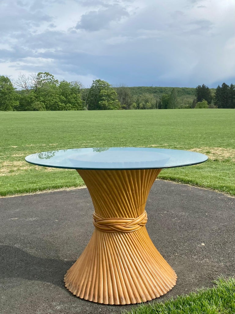 Mid-Century Modern Sculptural Sheaf of Wheat Bamboo Rattan Dining Table, Hollywood Regency McGuire For Sale