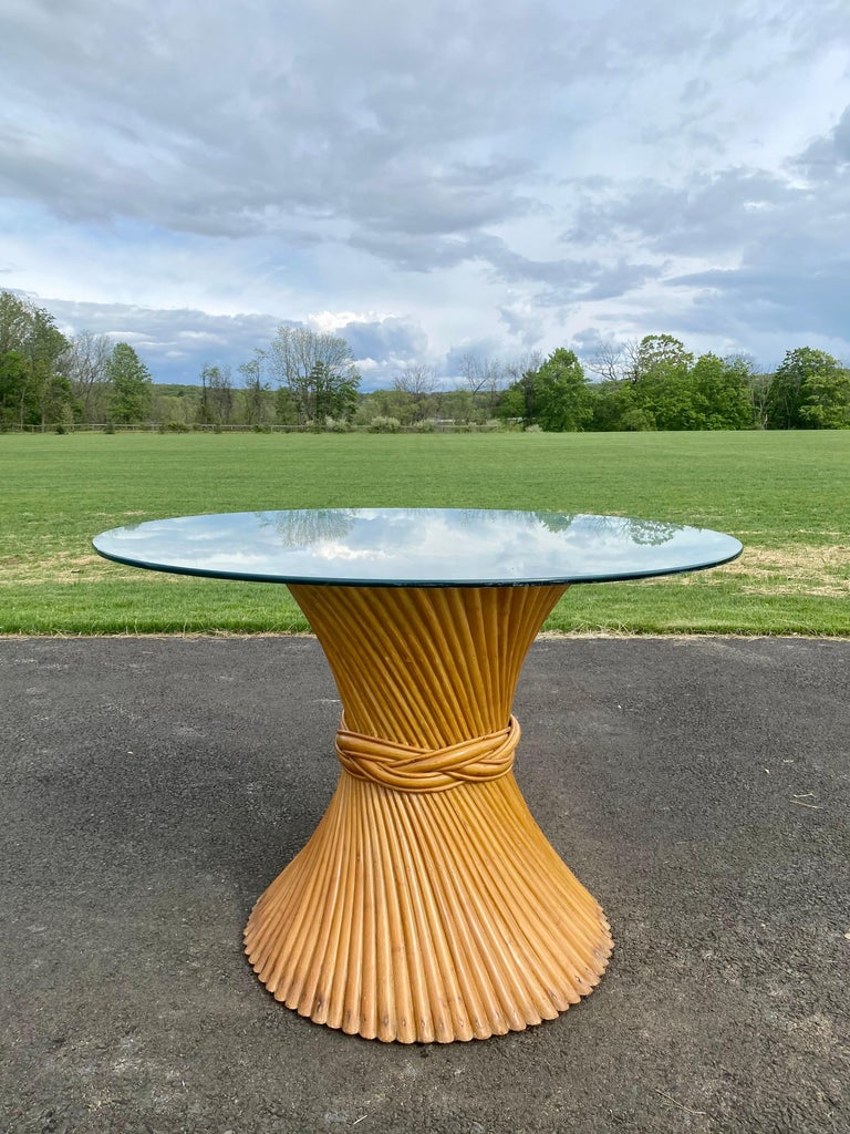 Late 20th Century Sculptural Sheaf of Wheat Bamboo Rattan Dining Table, Hollywood Regency McGuire For Sale