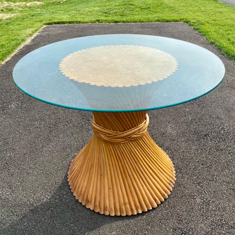 Sculptural Sheaf of Wheat Bamboo Rattan Dining Table, Hollywood Regency McGuire For Sale 2