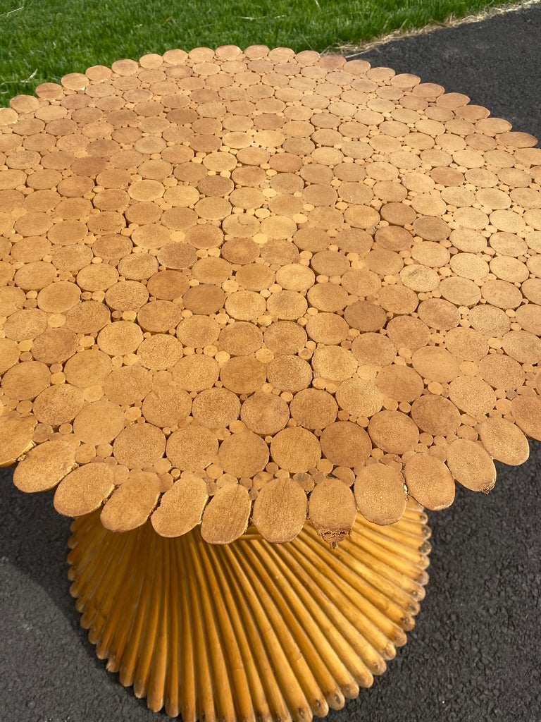 Sculptural Sheaf of Wheat Bamboo Rattan Dining Table, Hollywood Regency McGuire For Sale 4