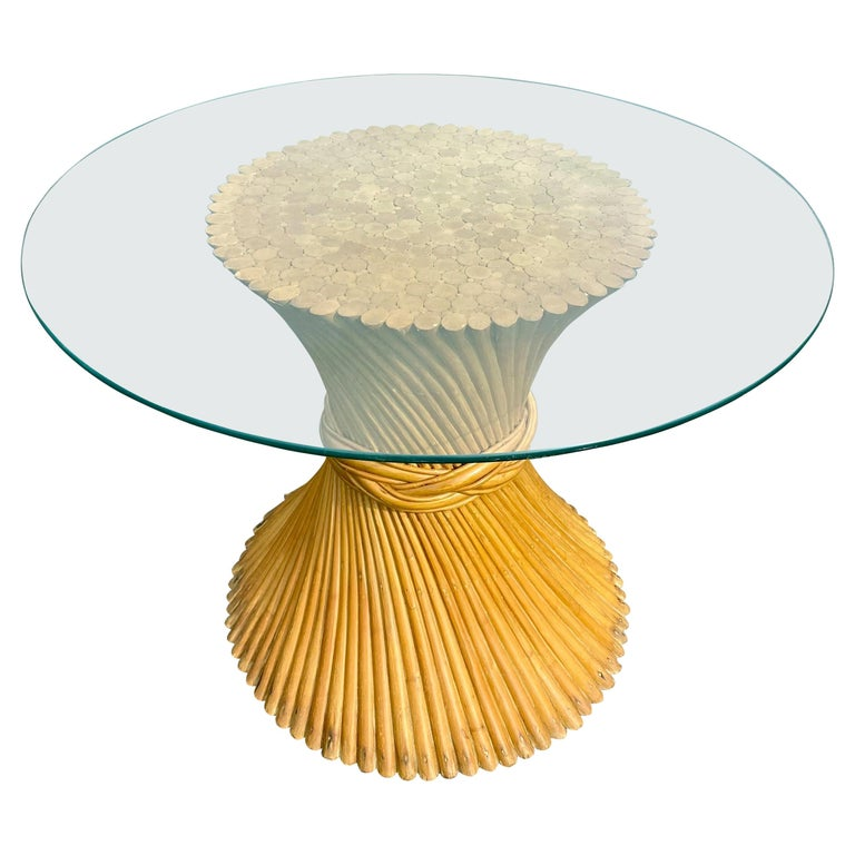 Sculptural Sheaf of Wheat Bamboo Rattan Dining Table, Hollywood Regency McGuire For Sale