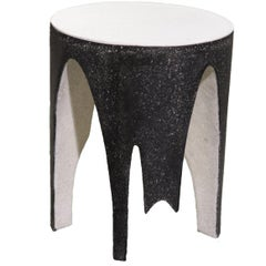 Cast Resin 'Corridor' Side Table, Black and White Finish by Zachary A. Design