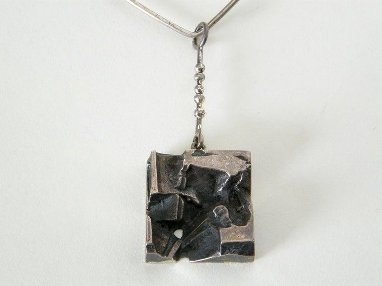 Modernist Sculptural Silver Jorma Laine Pendant on Sterling David-Andersen Neck Ring For Sale