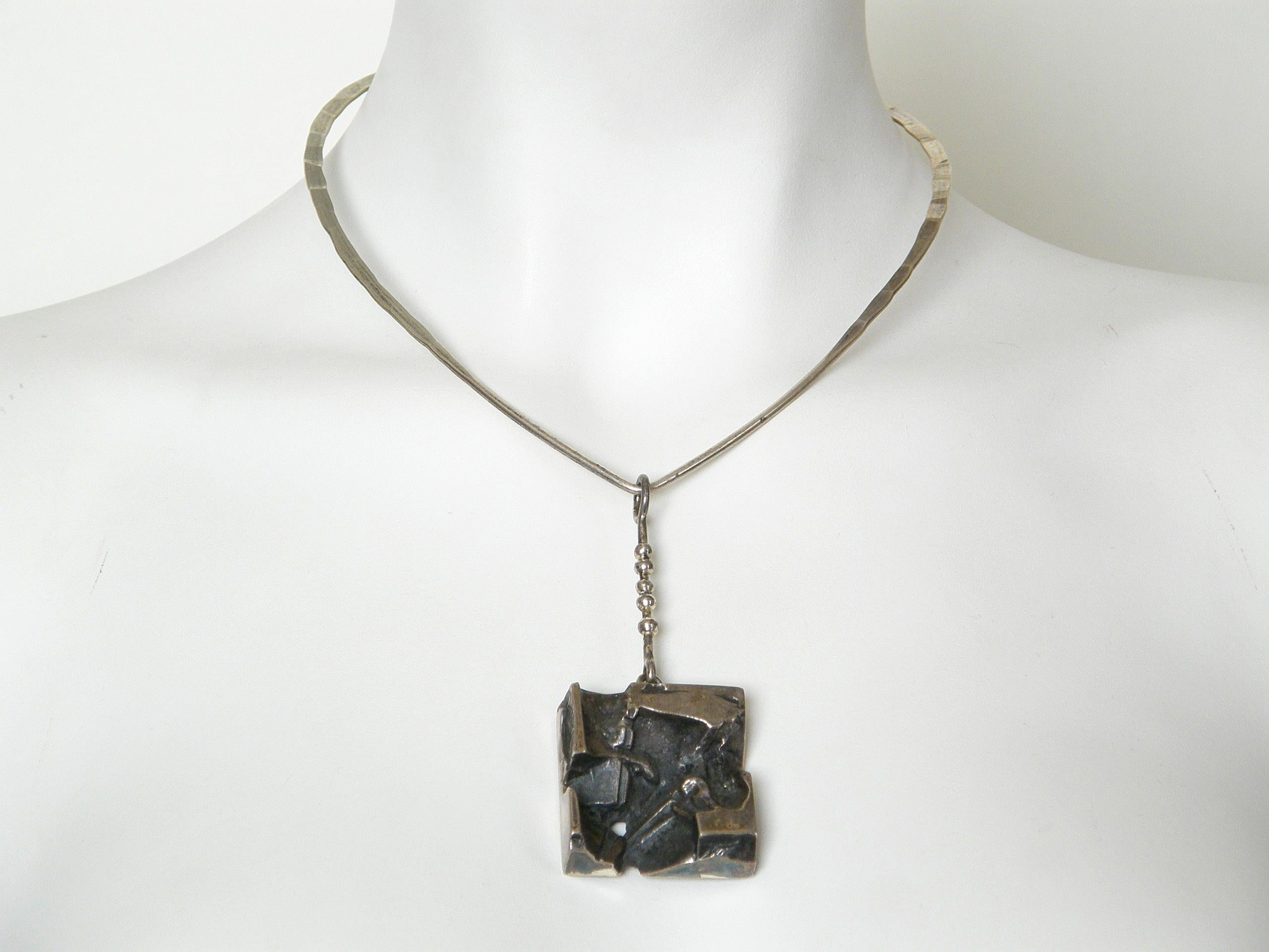 45a20e1de0d Sculptural Silver Jorma Laine Pendant on Sterling David-Andersen Neck Ring  For Sale at 1stdibs