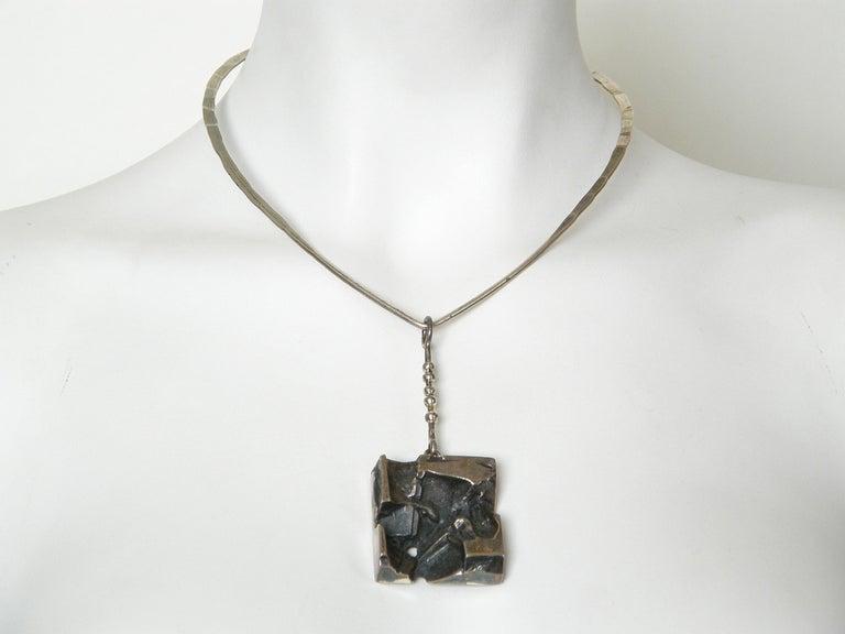 Sculptural Silver Jorma Laine Pendant on Sterling David-Andersen Neck Ring For Sale 3