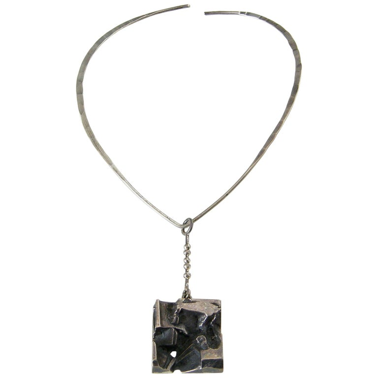 c78c4bf300a Sculptural Silver Jorma Laine Pendant on Sterling David-Andersen Neck Ring  For Sale