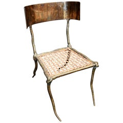 "Sculptural ""Snake"" Design Brass Desk or Bedroom Chair"