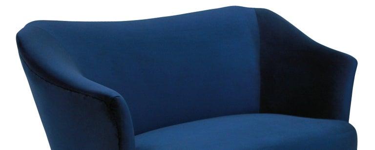 Mid-Century Modern Sculptural Sofa by ISA in Blue Velvet