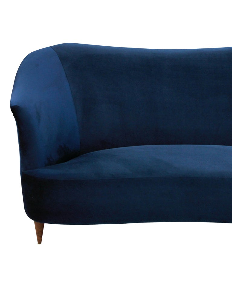 Italian Sculptural Sofa by ISA in Blue Velvet