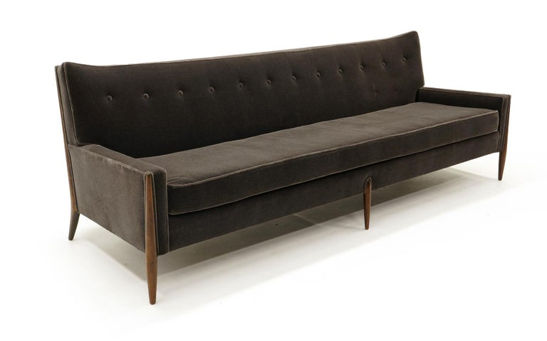 Mid-Century Modern Sculptural Sofa by Jules Heumann in Charcoal Gray Mohair For Sale