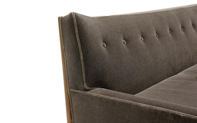 American Sculptural Sofa by Jules Heumann in Charcoal Gray Mohair For Sale