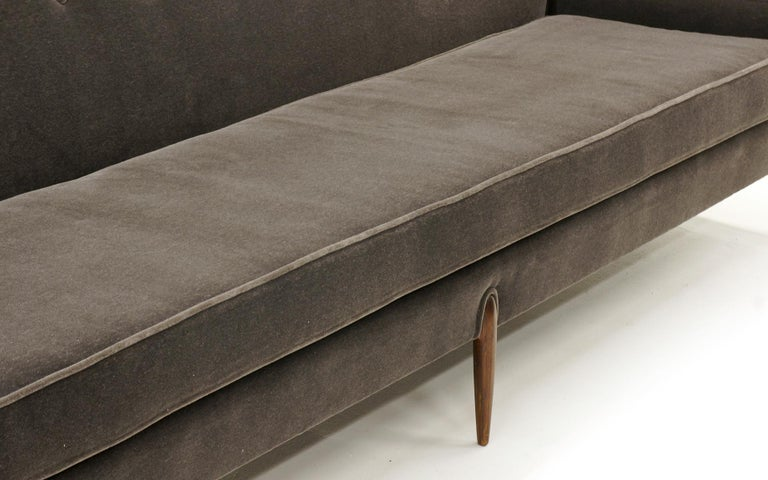 Sculptural Sofa by Jules Heumann in Charcoal Gray Mohair In Good Condition For Sale In Kansas City, MO
