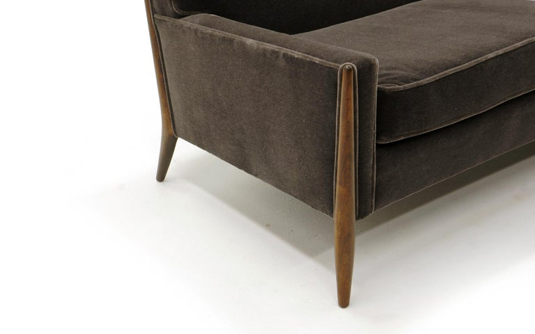Mid-20th Century Sculptural Sofa by Jules Heumann in Charcoal Gray Mohair For Sale