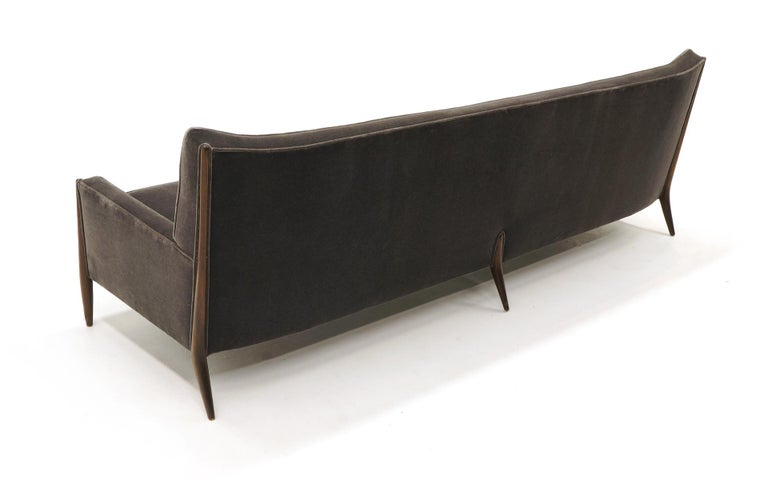 Sculptural Sofa by Jules Heumann in Charcoal Gray Mohair For Sale 1