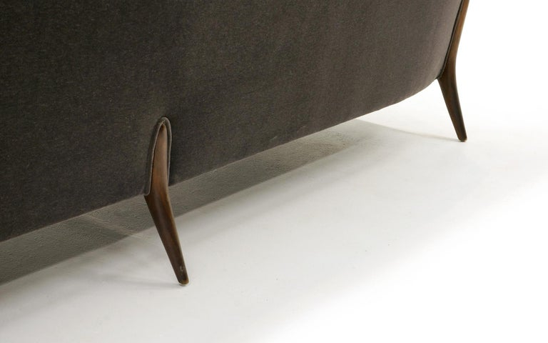 Sculptural Sofa by Jules Heumann in Charcoal Gray Mohair For Sale 2