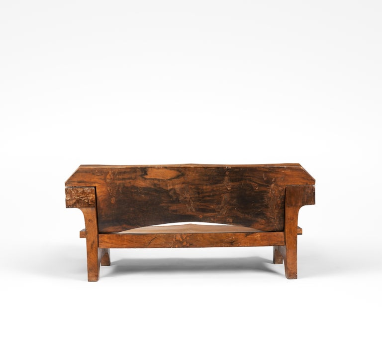Sculptural and important solid wood sofa by Zanine Caldas, circa 1980.  This sofa made up of solid vinhatico wood is typical of Jose Zanine Caldas work.  The forms given to this piece by Caldas result from the constraints linked to this material.