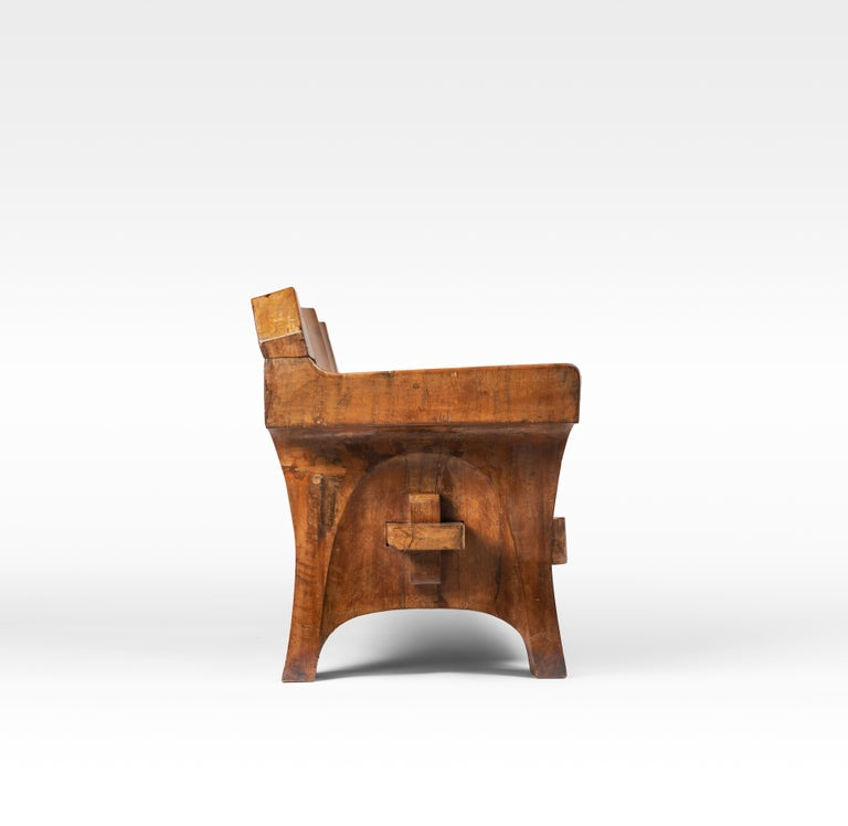 Brazilian Sculptural Solid Wood and Handcrafted Sofa by Jose Zanine Caldas, circa 1980 For Sale