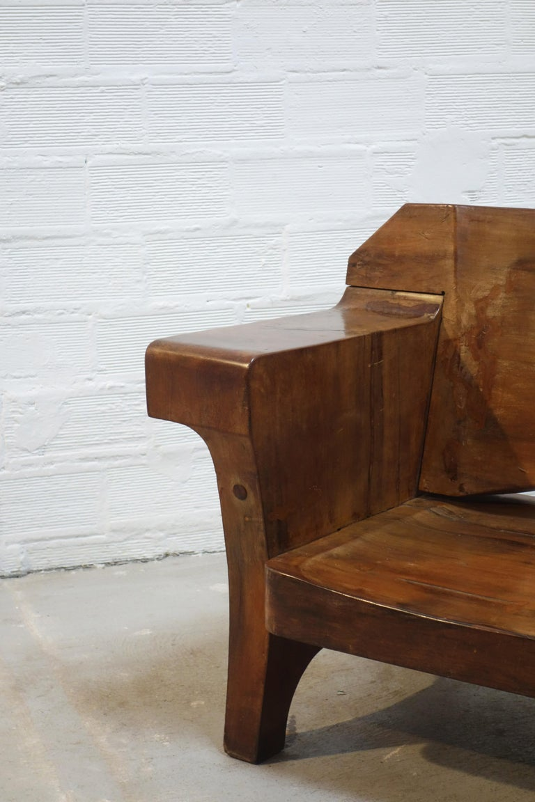 Sculptural Solid Wood and Handcrafted Sofa by Jose Zanine Caldas, circa 1980 In Good Condition For Sale In Paris, FR