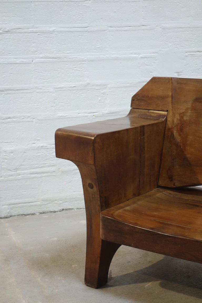 Sculptural Solid Wood and Handcrafted Sofa by Jose Zanine Caldas, circa 1980 For Sale 1