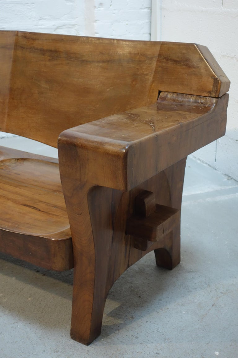 Sculptural Solid Wood and Handcrafted Sofa by Jose Zanine Caldas, circa 1980 For Sale 2