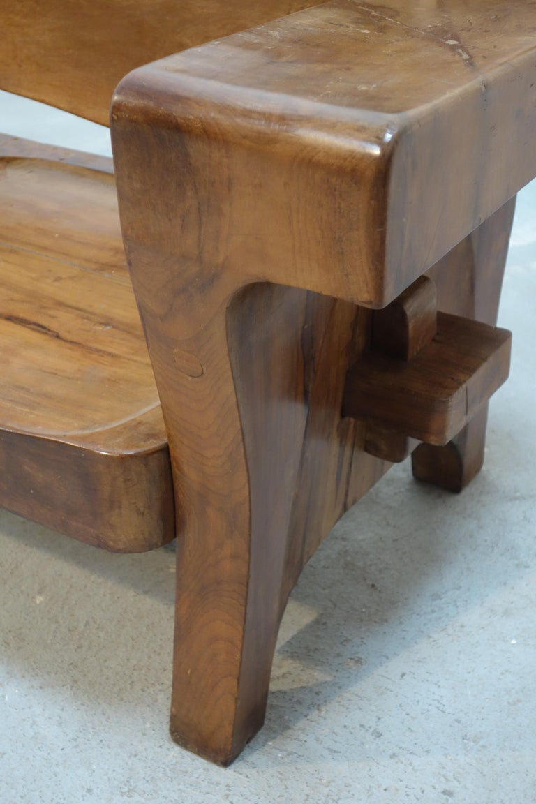 Sculptural Solid Wood and Handcrafted Sofa by Jose Zanine Caldas, circa 1980 For Sale 3
