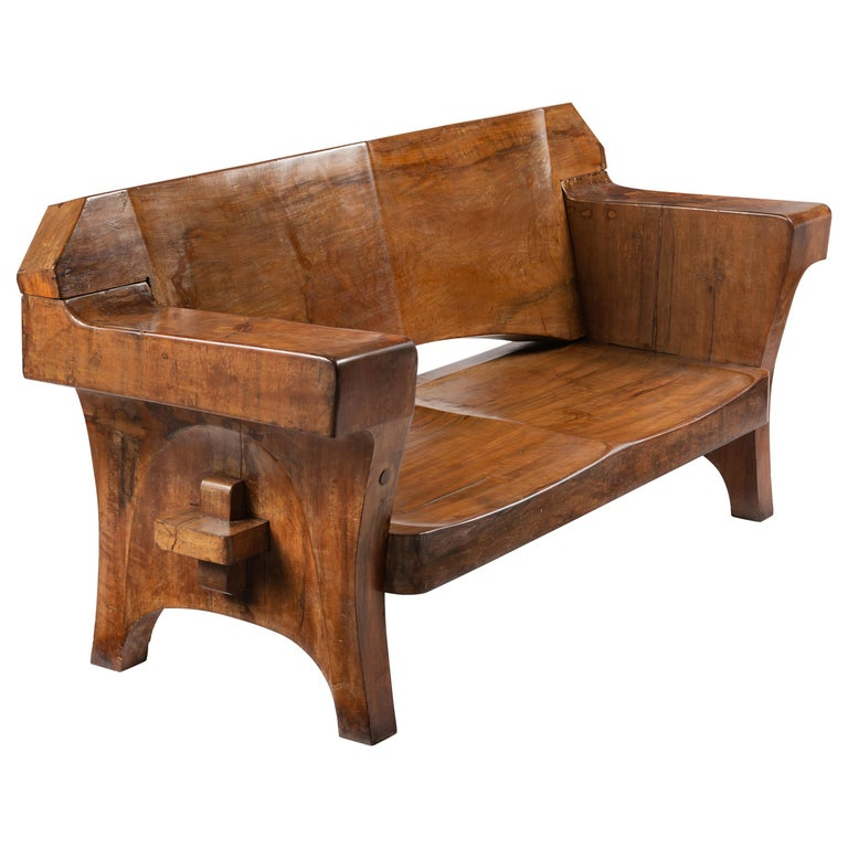 Sculptural Solid Wood and Handcrafted Sofa by Jose Zanine Caldas, circa 1980 For Sale