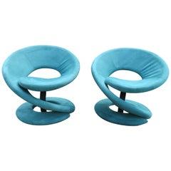 Sculptural Spiral Corkscrew Ribbon Lounge Chair Mid-Century Modern