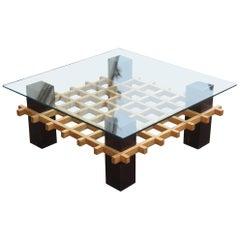 Sculptural Square Chestnut Coffee Table Glass Top Italian Design, 1970