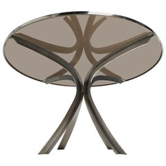 Sculptural Stainless Steel Smoked Glass Dining Table by Xavier Féal 1970, France