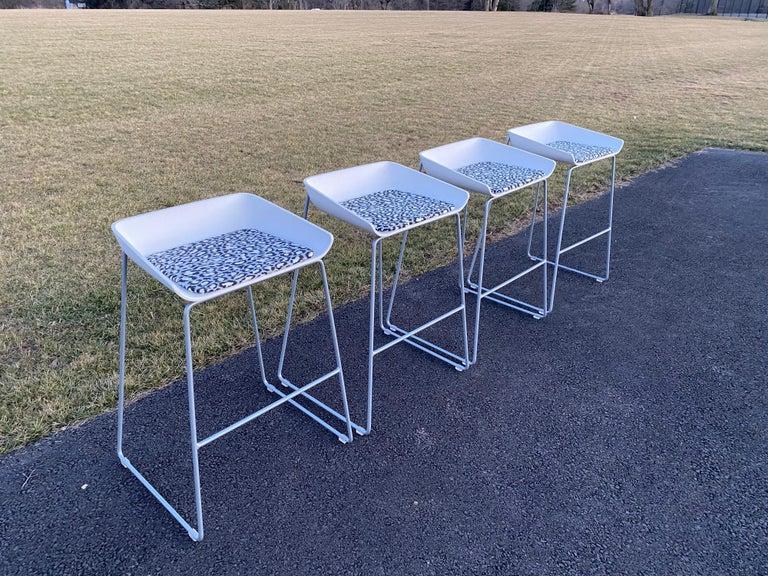 Sculptural Steelcase Bar Stools with Diane von Furstenberg Leopard Cushions For Sale 5