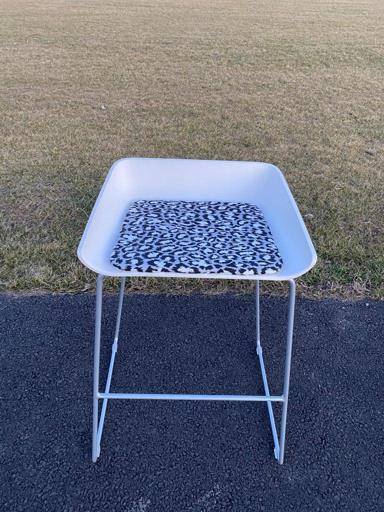 Sculptural Steelcase Bar Stools with Diane von Furstenberg Leopard Cushions For Sale 7
