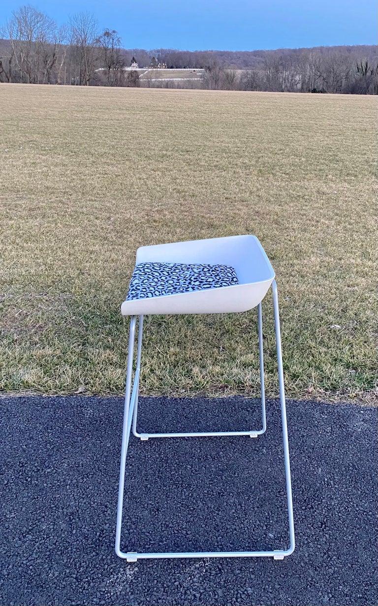 Sculptural Steelcase Bar Stools with Diane von Furstenberg Leopard Cushions For Sale 8