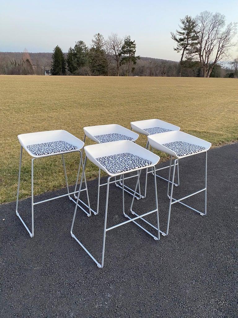 Post-Modern Sculptural Steelcase Bar Stools with Diane von Furstenberg Leopard Cushions For Sale