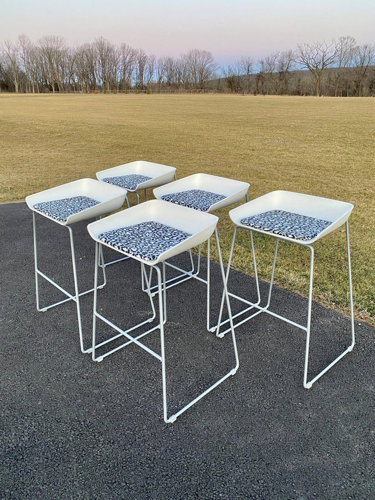 Sculptural Steelcase Bar Stools with Diane von Furstenberg Leopard Cushions In Good Condition For Sale In Lambertville, NJ
