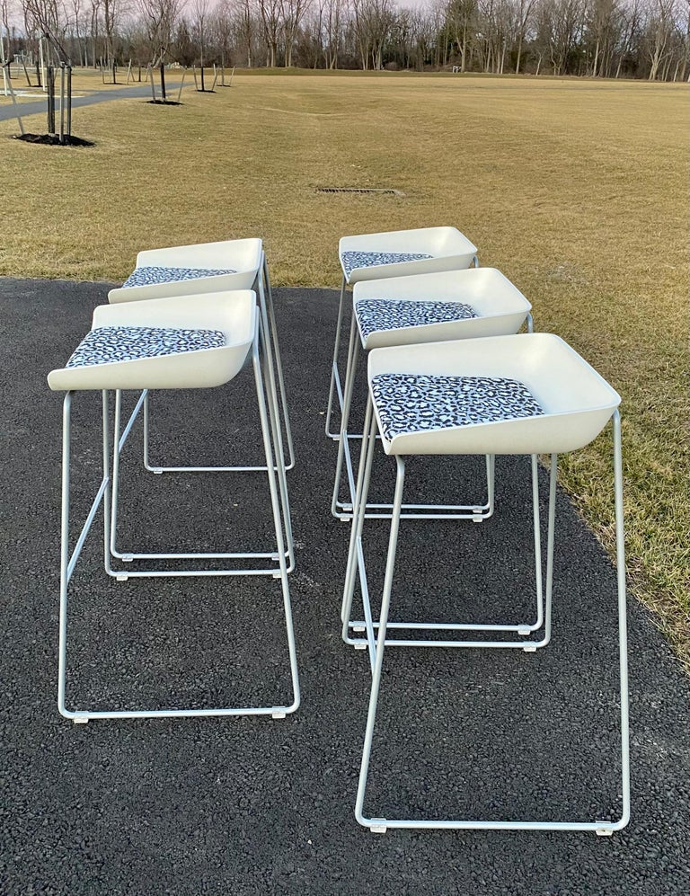 Contemporary Sculptural Steelcase Bar Stools with Diane von Furstenberg Leopard Cushions For Sale
