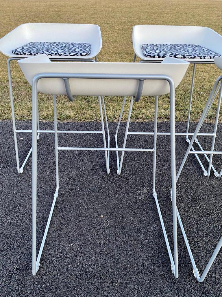 Sculptural Steelcase Bar Stools with Diane von Furstenberg Leopard Cushions For Sale 3