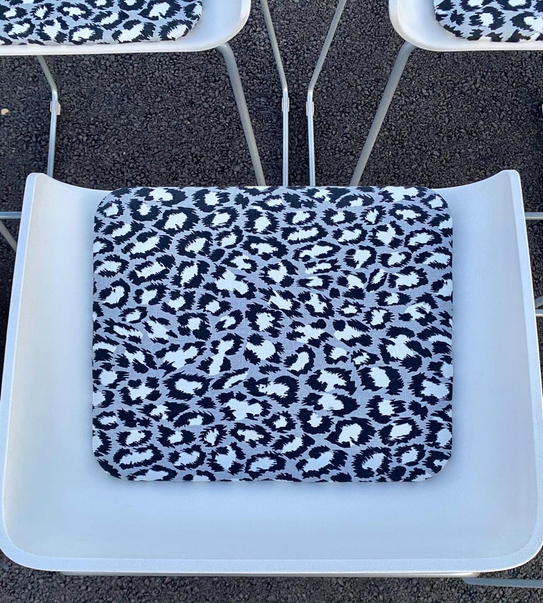 Sculptural Steelcase Bar Stools with Diane von Furstenberg Leopard Cushions For Sale 4