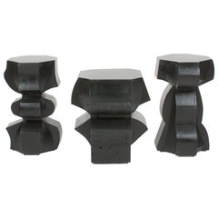Sculptural Stool/End Tables in Black Cast Concrete by Nico Yektai