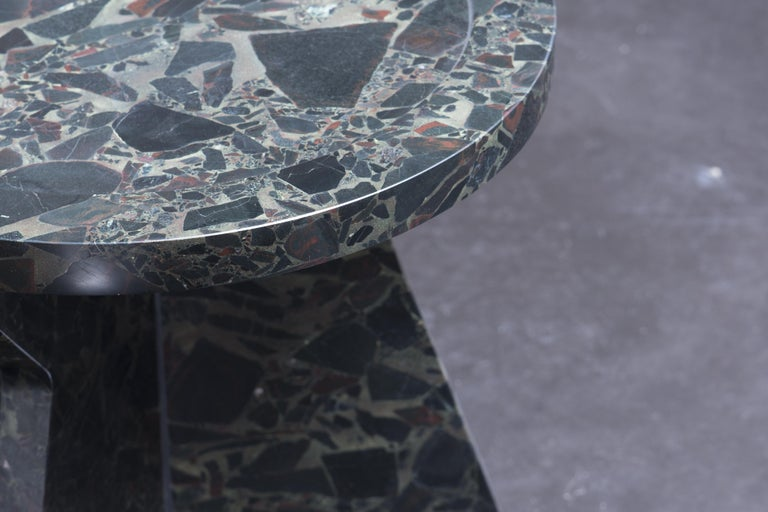Sculptural stool in marble, Sébastien Caporusso