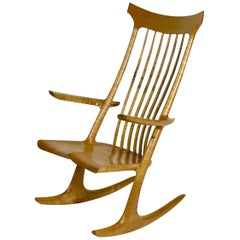Sculptural Studio Handcrafted Rocker Rocking Chair in Curly Maple
