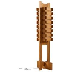 Sculptural Swedish Floor Lamp in Pine