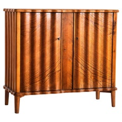 Sculptural Swedish Modern Cabinet in Elm with Undulating Front and Sides, 1940s