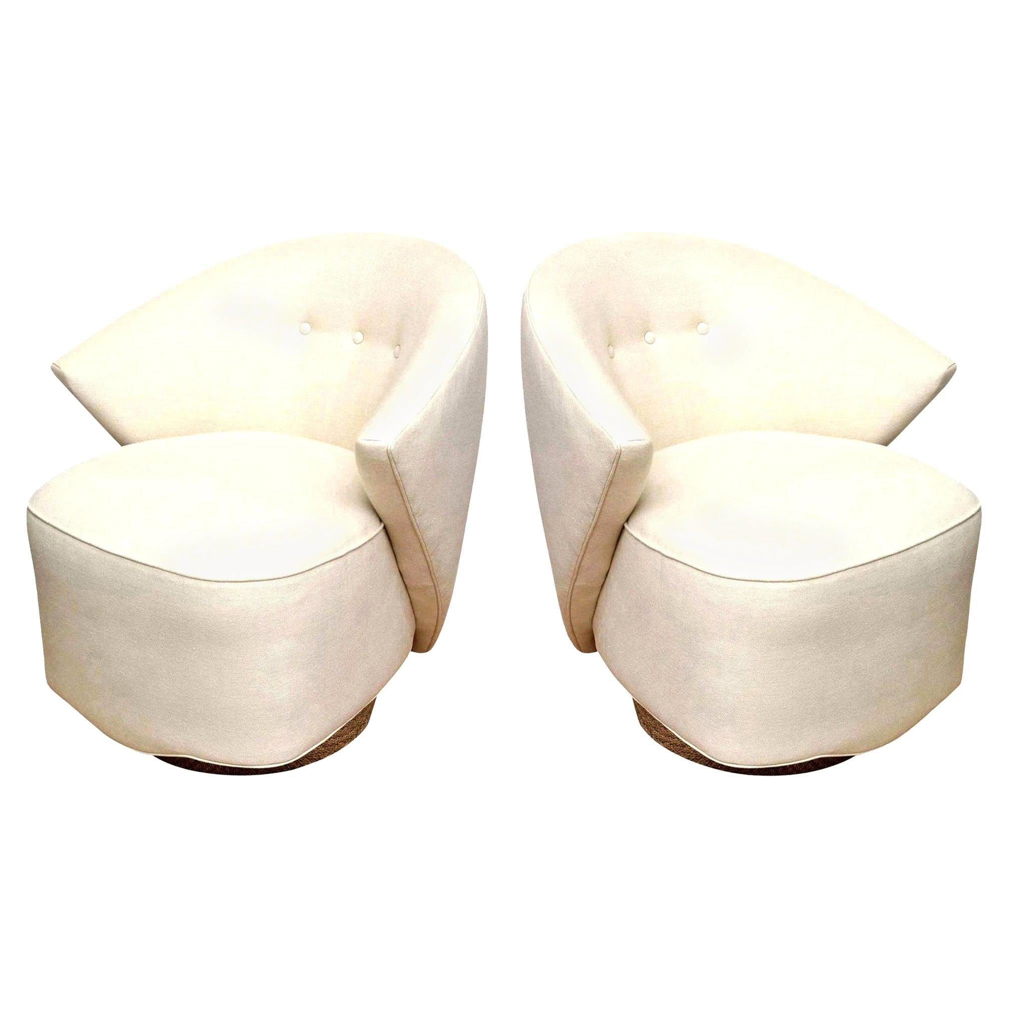 Sculptural Swivel Lounge or Side Chairs by Michael Wolk for Directional