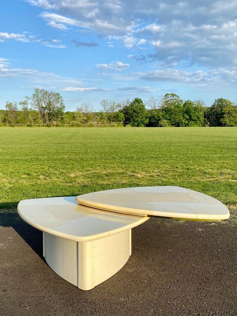 Sculptural Swiveling Two-Tier Coffee Table, Faux Goatskin Karl Springer, 1970 In Good Condition For Sale In Lambertville, NJ