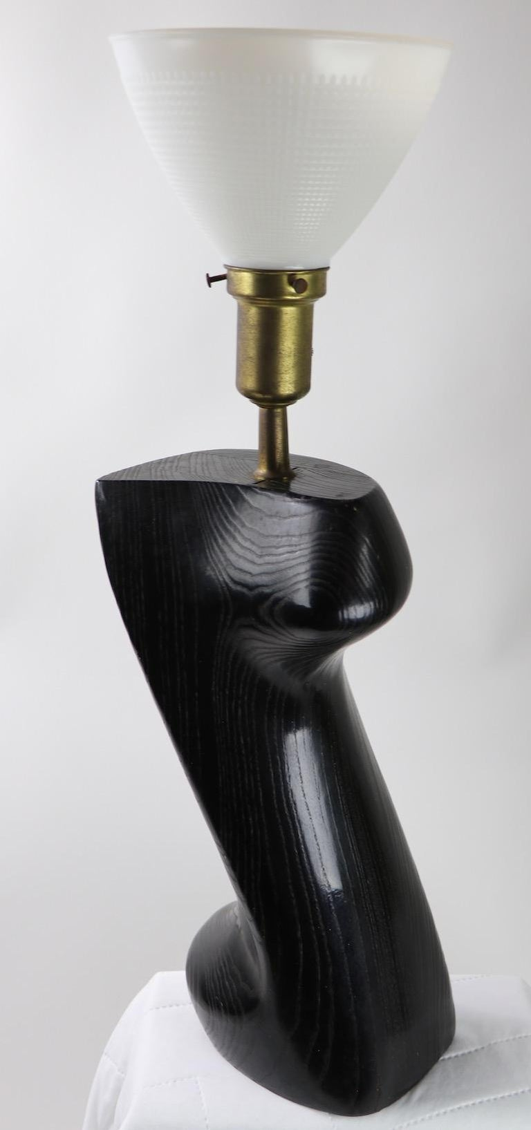 Sculptural Table Lamp in Cerused Oak by Heifetz For Sale 1